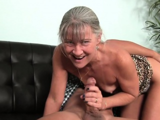 Smalltit gilf jerking cock on couch