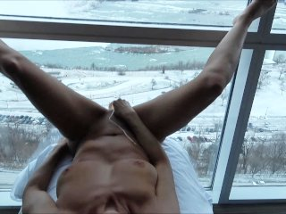 "HOT AMATEUR WIFE FUCKING LARGE DILDO ON WINDOW ABOVE THE """"FALLS"""""