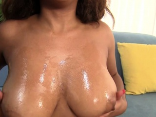 Big-boobed dark-hued Katt Garcia greased n pummeled