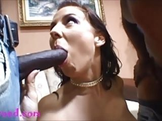 Big fake titty mom takes 2 black negro monsters up the ass
