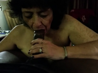 Cock - crazed grandma blowing a black shaft